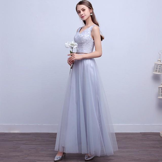 Tienda Online Jlzxsy nueva plata gris boda elegante barato largo ...