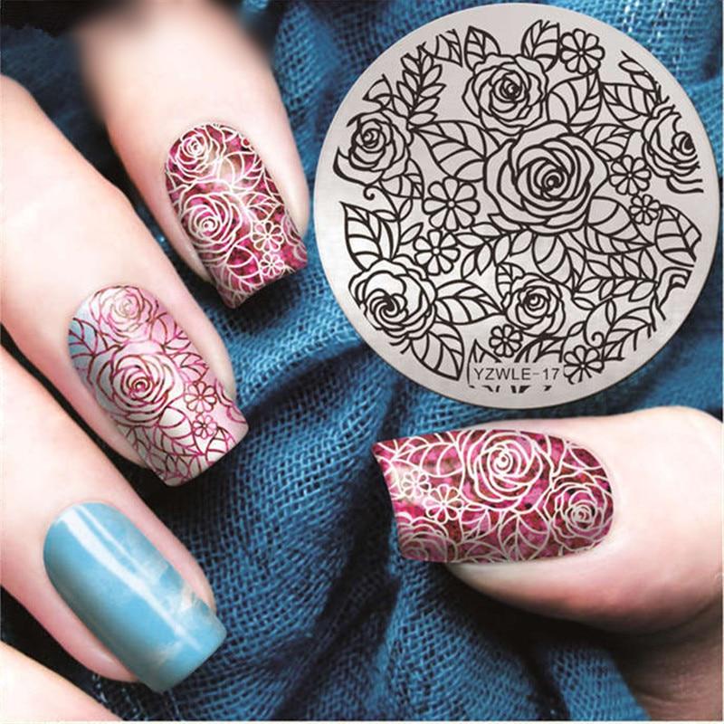 Rose Spring Nail Stamping Plates Floral Line Art Stamp Plate Design