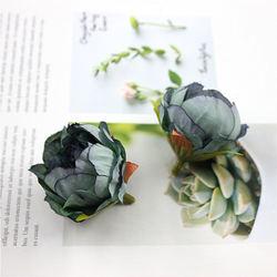 10PCS /lote 5 cm Alta Qualidade Da Flor Da Peonia Cabeca Flor De Seda Artificial Decoracao De Casamento Guirlanda DIY Artesanato