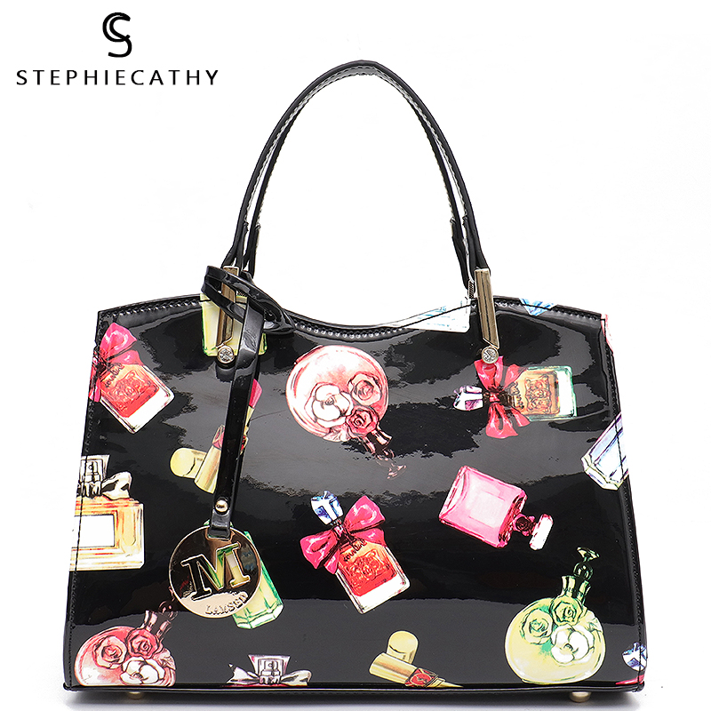 SC Fashion Vegan Patent Leather Women Top handle Bags Female Luxury Handbags Messenger Tote Case Bag
