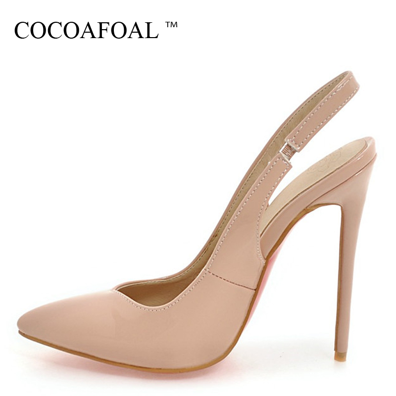 COCOAFOAL Women White Wedding Sandals Plus Size 33 - 48 High Heels Sandals Fashion Sexy Apricot Black Pointed Toe Pumps 2018COCOAFOAL Women White Wedding Sandals Plus Size 33 - 48 High Heels Sandals Fashion Sexy Apricot Black Pointed Toe Pumps 2018