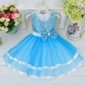 Free Shipping Retail Girl Dresses Children Party  Summer Princess Girl Dresses Wedding Dress Big Flowers Sequined Bow 4 Colors