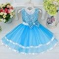 Frete Grátis Vestidos Da Menina de Varejo Crianças Festa de Verão vestido de Princesa Menina Vestidos de Flores Do Vestido de Casamento Grande Arco de Lantejoulas 4 Cores