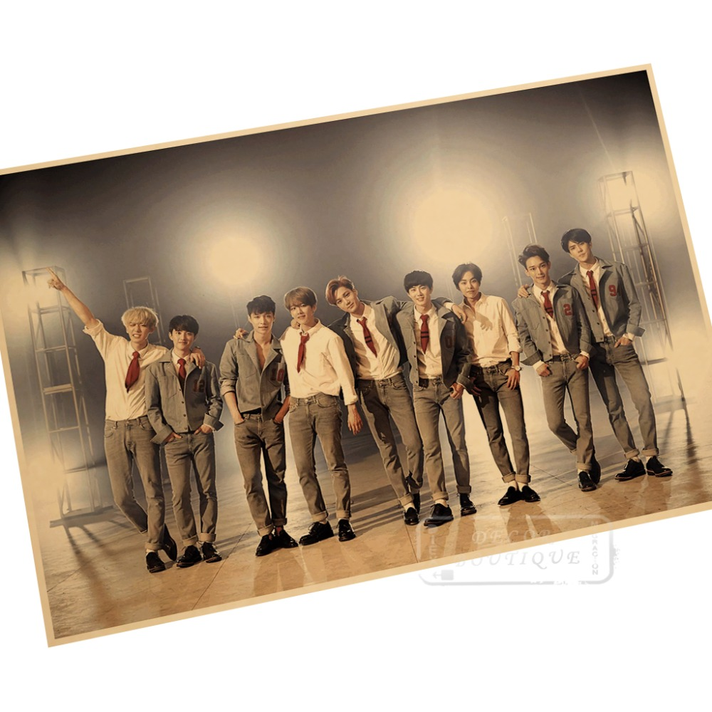 popular wall mural poster buy cheap wall mural poster lots from young exo music group suit wall mural poster decorative diy wall stickers home posters bar art