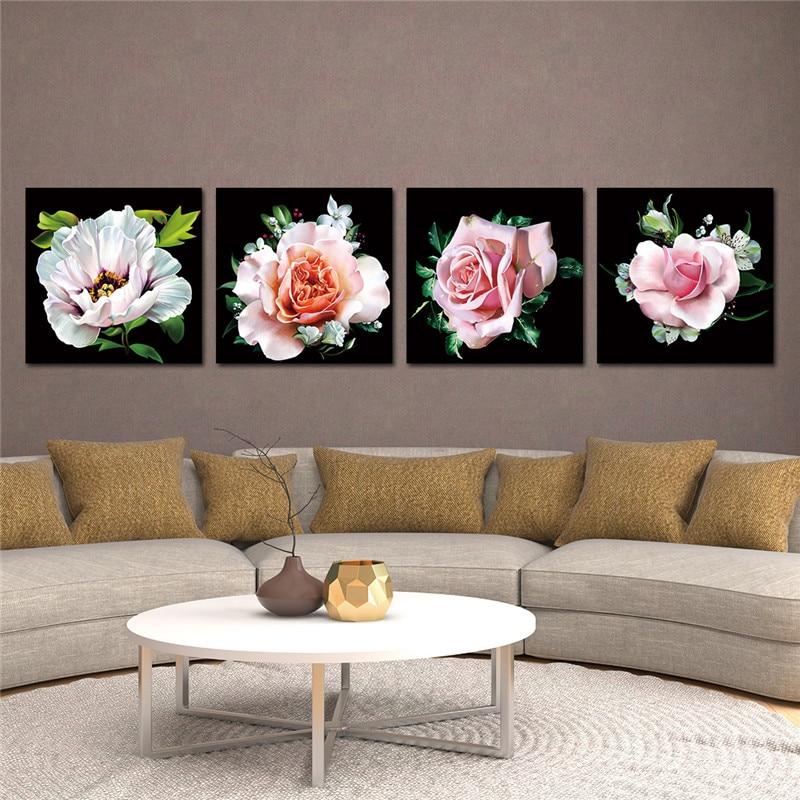 Lærredsmaleri Moderne kunst Oljemaling Modulær roseblomstbilleder - Indretning af hjemmet - Foto 4