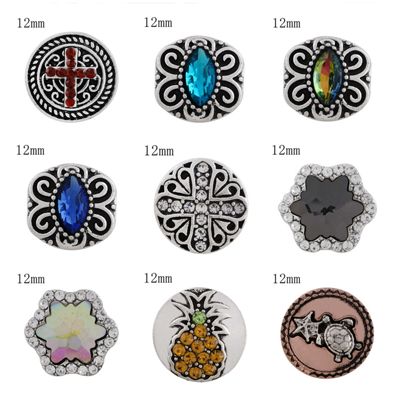 2018 New Fashion Faith Cross Snap Button 12mm DIY Western Style Snaps Jewelry Fit Women Charm Brcacelet Necklace Beads KS6273-S