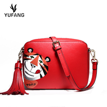 YUFANG Genuine Leather Women Crossbody Bag Tiger Embossed Messenger Bag  Female Candy Color Girls Teenager Mini 5b0c5253d85af