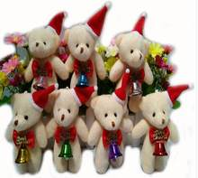 new 10pieces/lot 12cm Christmas MINI bear plush doll toy furnishing articles Children's gift(China)