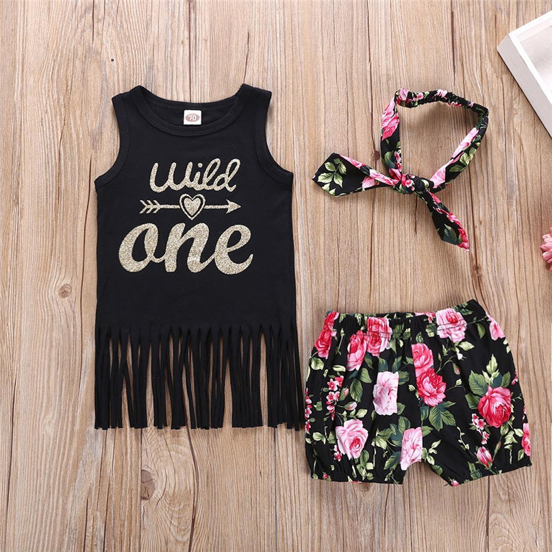3PCS Baby Clothed Infant Toddler Kids Baby Girls Letter Print Tassel Sleeveless Tops+Shorts+Headband Sets Baby Girl Sets JE14#F ...