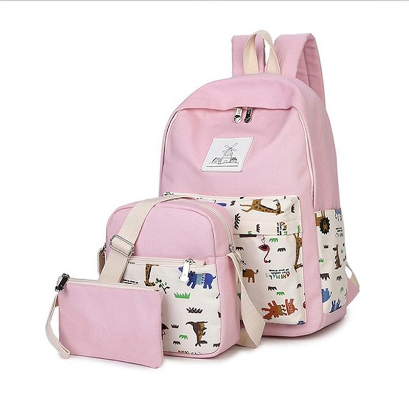 Women Backpack High Quality 2017 Girls Printing Book bag Women Backpack 3  PCS School Bags For Teenagers Cute Backpack 3fdb597cb1
