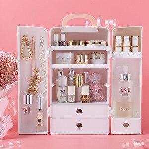 Image 2 - Kozmetik saklama kutusu, plastik masa dolabı, tuvalet masası, cilt bakım ürünü bitirme kutusu, Prenses ruj rafı.