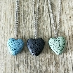 12 colors Heart Lava Stone Aroma Essential Oil Diffuser Necklace Aromatherapy Jewelry Minimalist Lava Rock Stone Necklace