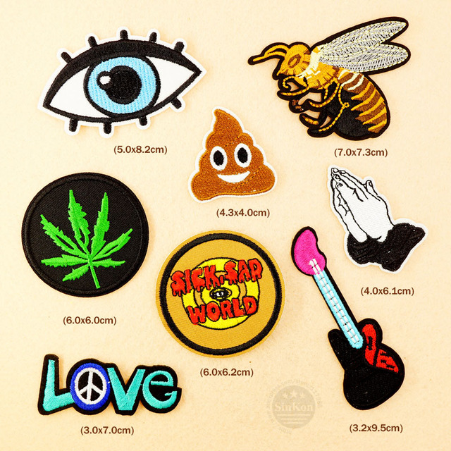 8pcs/lot SAD WORLD Love Pray Iron On Patch Sewing On Patches Embroidered Applique Clothes Cartoon Garment Apparel Accessories