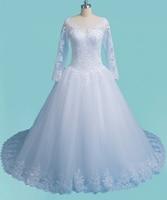 2017 Romantic Princess Ball Gown Arabic Wedding Dress Very Puffy Real Photo Long Sleeve Dubai Abaya Saudia Bridal Wedding Gown