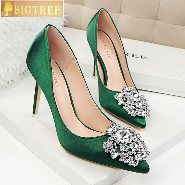 Star Style Sexy Pointed Toe Women Pumps 2018 New Fashion Crystal Solid Silk  Shallow High Heels 10cm Shoes Women s Wedding Shoes b4125ddd537d