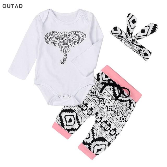 a7f2bb233 3 قطعة/المجموعة اطفال بنات طقم ملابس لطيف الفيل الطباعة طويلة الأكمام القمم  + القيعان