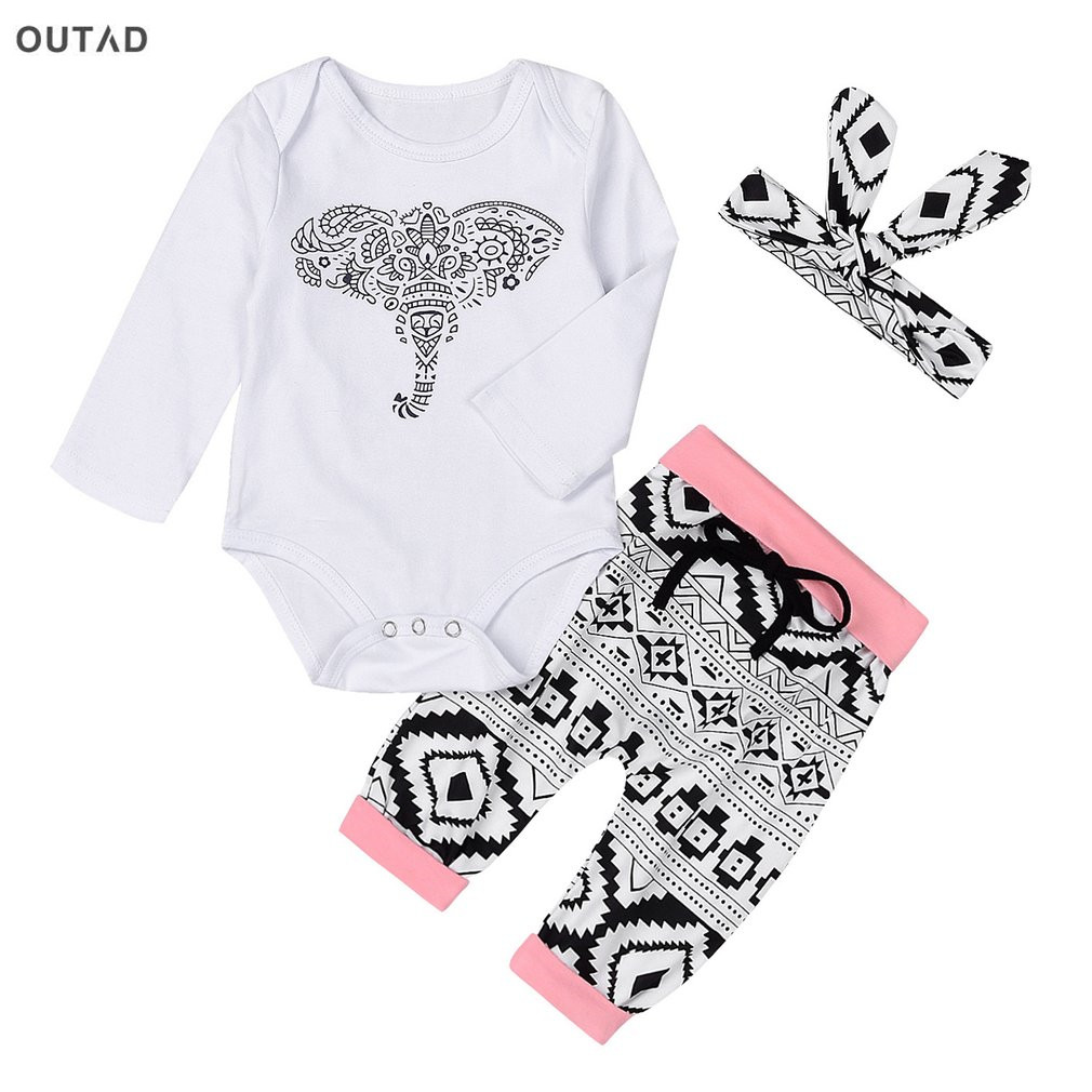 3Pcs/set Baby Girls Clothing Set Cute Elephant Printing Long Sleeve Tops+Bottoms+Heaband Kids Garments For Autumn Funny Newborn