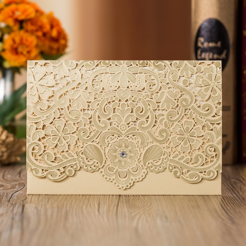 50 pcs Laser Cut Gold Wedding Engagement Invitations Card Business Birthday Invites Greeting Cards with Envelopes