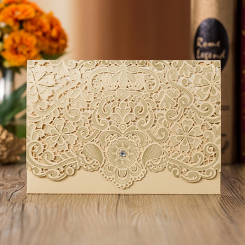 50 pcs Laser Cut Gold Wedding Engagement Invitations Card Business Birthday Invites Greeting Cards with Envelopes, Customized