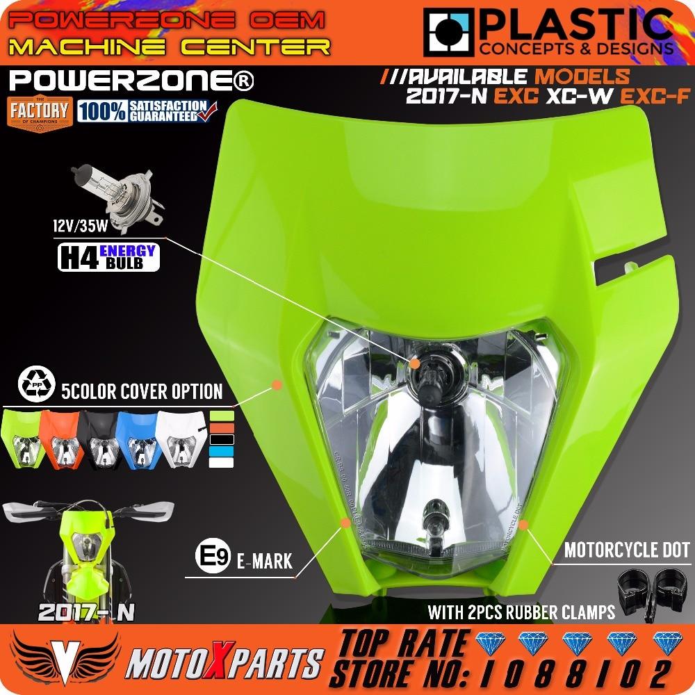 POWERZONE Motorcycle Headlight Headlamp For KTM Fashion 5 Colour EXC XC W SX F Enduro Dirt Bike Motocross Supermoto 2017 2018