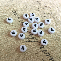 Free Shipping 3600PCS Lot Single Round Number Beads Wholesale Price 4 MM Coin Flat Round Acrylic