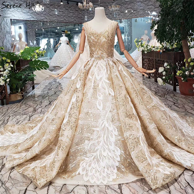 7f14fa9a2c14 Dubai Luxury Gold V-Neck Sexy Wedding Dresses 2019 Beading Sequined  Sleeveless Vintage Bride Gowns Real Photo Custom Made ~ Free Delivery July  2019
