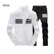 Tracksuit Men's Hoodie Fleece Sportswear Warm Tracksuits Sweat Homme Casual Men Tracksuit Sweatshirt 2 PCS Jacket + Pants 2019(China)