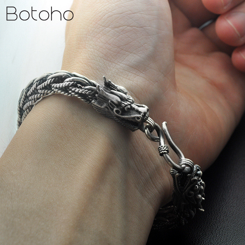 New Dragon Head Bracelet 925 Sterling Silver 20-21cm Hand Link Chain Bangle Solid Thai Silver Bracelets Male Men Fashion Jewelry 2018 thai silver jewelry 925 sterling silver men bracelet male domineering personality retro fashion chain link charm bracelet