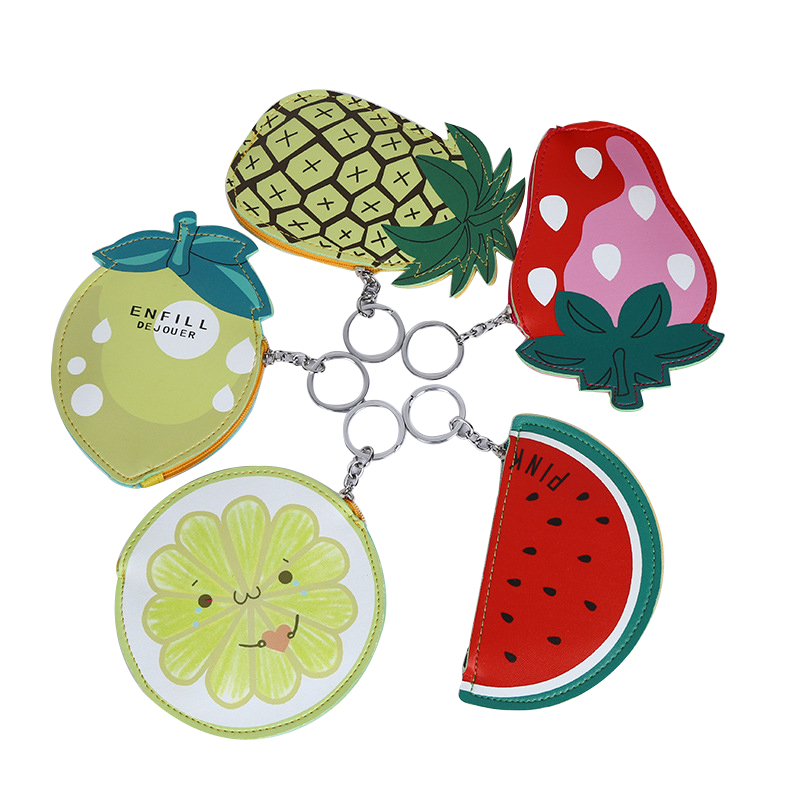 JULYS SONG 5PCS Pineapple Lemon Women Coin Purses And Handbags Cute Fruit Leather Pouch Children Wallet Small Bag For Keys