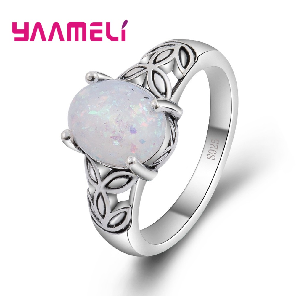 925 Sterling Silver Oval Opal Finger Rings for Women And Girl Surprise Gift Simple Top Quality and Precious Engagement