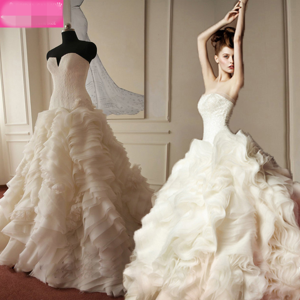 Korean Wedding Gowns: OMYW0179 Strapless Top Lace Custom Made Layered Skirt