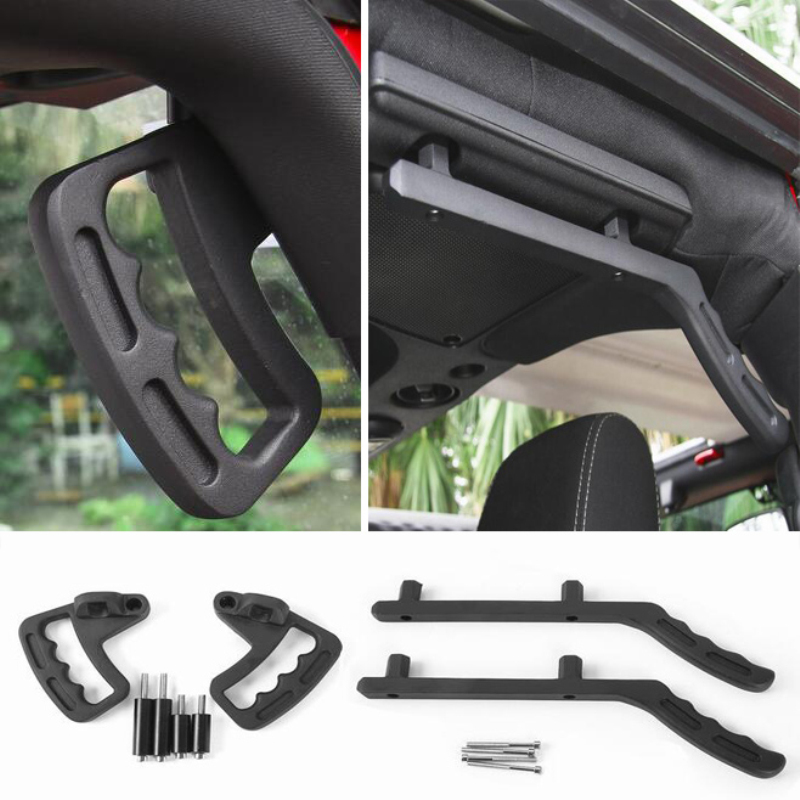 New Arrival High-Strength Solid Steel Black Grab Bar Front Grab Handles For Jeep Wrangler JK 2 & 4 Door 2007~2017 2 pcs black car styling parts front rear grab bar handles for jeep wrangler jk 2007 2017 new fashion upgraded
