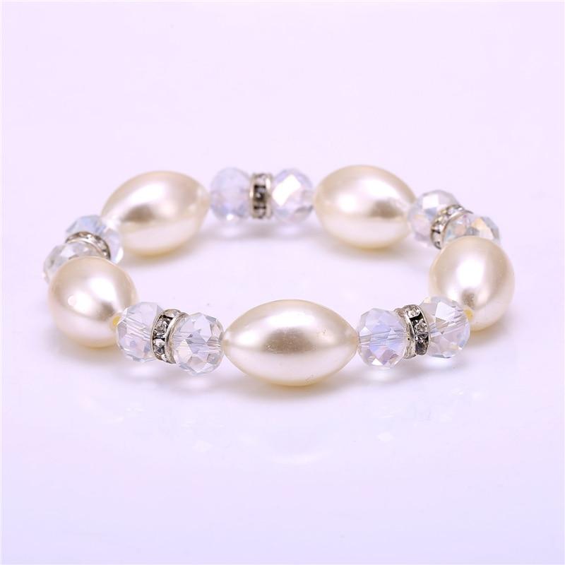 Ladies Accessories Elegant Simulated Pearl Crystal Rhinestone Charm Bracelet for Women Gift Elastic Bracelets Bangles Pulseira