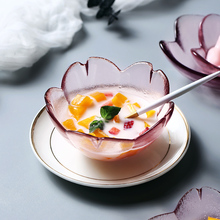 ONEISALL Glass Dessert Plate Fruit Tray Cake Pudding Ice Cream Set Dishes Sets  Japanese-style European