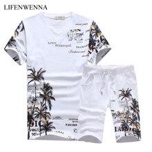 Новинка, модные летние комплекты с шортами, мужские повседневные Костюмы с принтом кокосового острова для мужчин, костюм в китайском стиле, комплекты, футболка+ штаны, 5XL