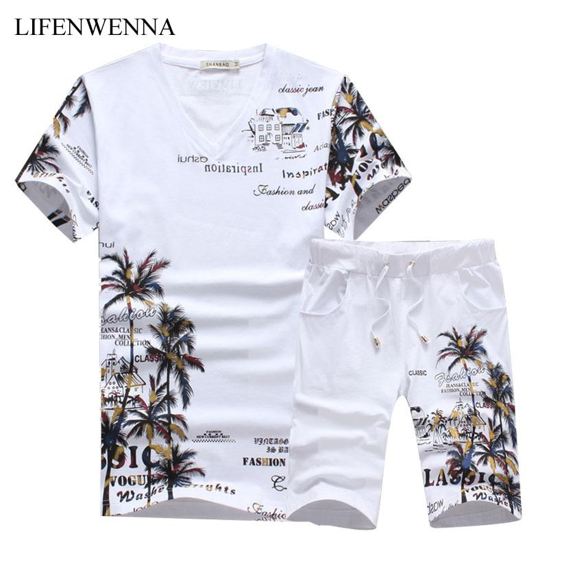 2018 Nouvelle Mode D'été Court Ensembles Hommes Casual Coconut Island Impression costumes Pour Hommes de Style Chinois Costume Ensembles T-shirt + Pantalon 5XL
