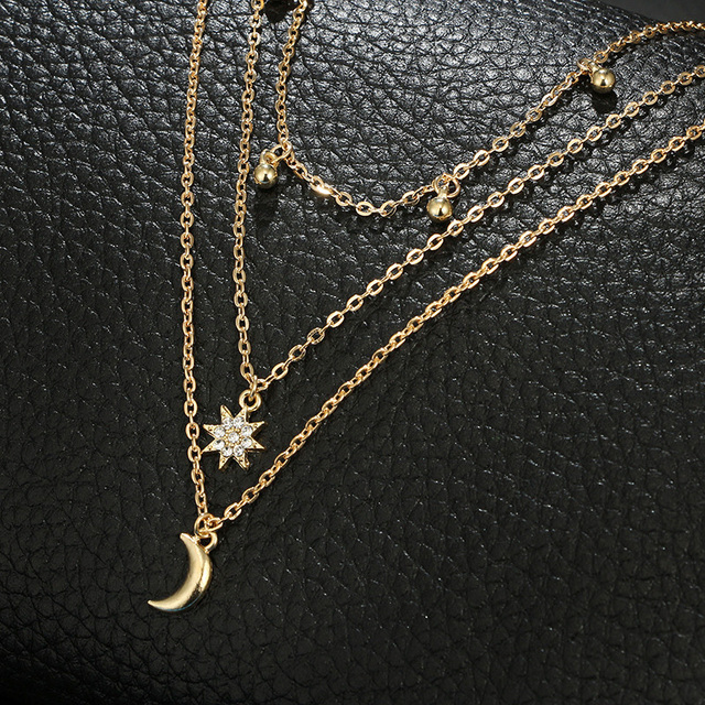 Multi-Layer Moon Star Bohemian Necklace