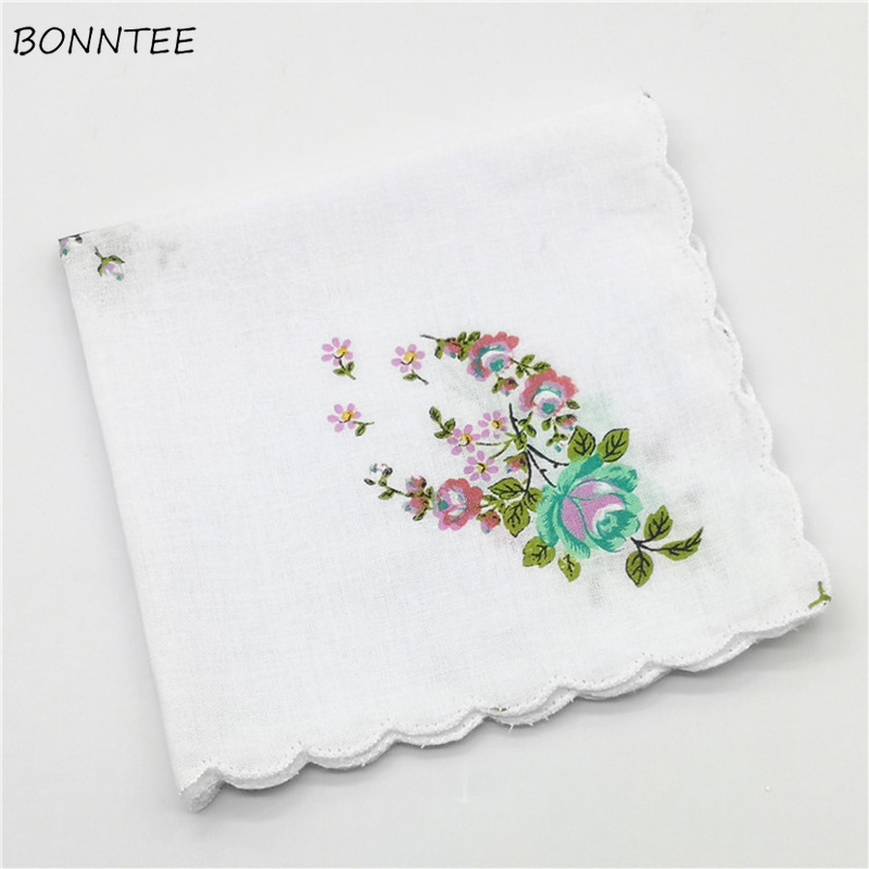 Handkerchiefs Women Floral Printing Harajuku Classic Elegant Soft Simple Womens Square Handkerchief Korean Style Leisure Daily