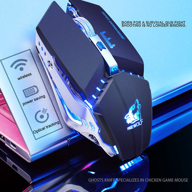 Noiseless Wireless Mouse Optical Mouse Gaming Silent usb rechargeable Mice 1800dpi 7 Color LED Mouse For PC Laptop Computer
