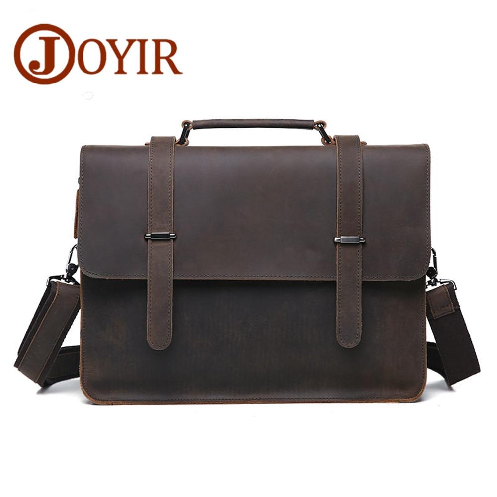 JOYIR Men Briefcase Real Leather Handbag Crazy Horse Genuine Leather Male Business Retro Messenger Shoulder Bag For Men Mandbag