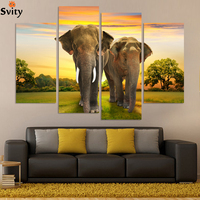 4pcs Free Shipping Elephant Morden Abstract Oil Painting Painted Painting Painting Oil On Canvas Home Decoration Living Room