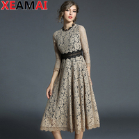 2018 Spring Womens Sexy Elegant Mesh Lace See Through Bell Sleeve Patchwork Cocktail Party Fit and Flare A Line Long Dress