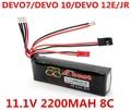 8C Walkera 2200 mAh 11.1 V Li-po Batería para DEVO DEVO 7 10 12E DEVO DEVO F12E Transmisor JR Batería li-po RC Envío Libre