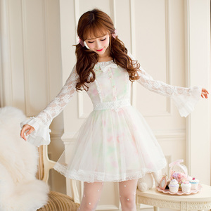 Image 1 - נסיכה מתוקה לוליטה שמלת ממתקי גשם סתיו חדש מתוק חלול החוצה הדפסת נסיכה ארוך שרוול תחרה שמלת C16CD6146