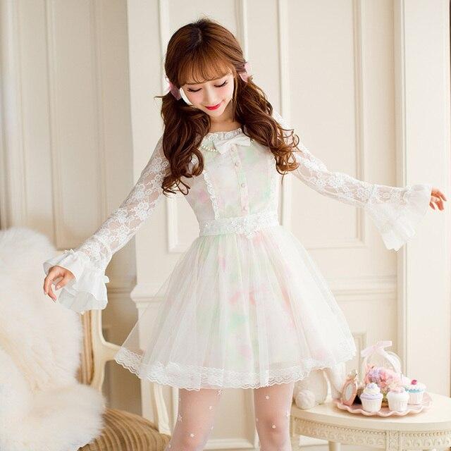 נסיכה מתוקה לוליטה שמלת ממתקי גשם סתיו חדש מתוק חלול החוצה הדפסת נסיכה ארוך שרוול תחרה שמלת C16CD6146