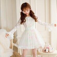 Princesa doce lolita vestido doce chuva outono novo doce oco para fora impressão princesa manga longa vestido de renda c16cd6146