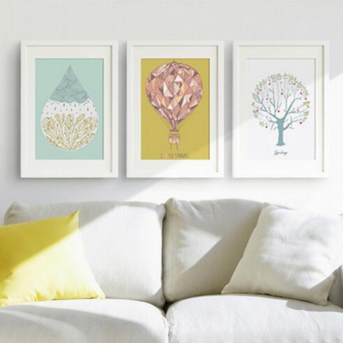 Minimalistické moderní Triptych Obrazy Strom / Oheň Balón Nástěnná Nálepka Pro Děti Místnosti Umělecká Nástěnná Plakát Domů Dekorace Obraz na plátně