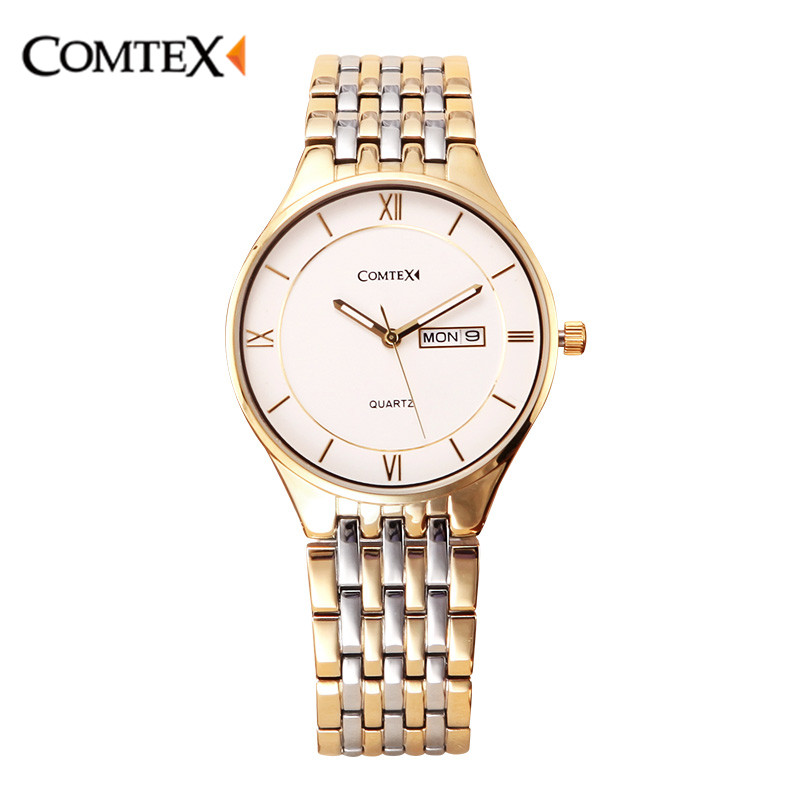 COMTEX Watch Men Top2017 Brand Luxury Famous Wristwatch Big Dial Analog Quartz Calendar Male Clock Stainless Steel Strap Watches famous brand big dial watch for men quartz big face watches rubber band 52mm rose gold men s wristwatch luxury mens relojios new