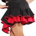 Atacado/varejo 2016 New Mulheres Dança Latina Saia Desempenho Cha/Rumba/Samba/Tango/Cowboy Saia Dancewear Latina Saia Preto vermelho