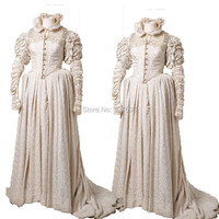 Tailored!Luxs White 18th Century Duchess Marie Antoinette Day Court Victorian Gown Ball Dress Reenactment dresses HL 200